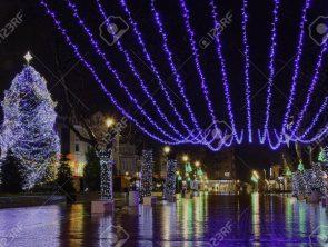 Illumination in varna, Christmas time , on a rainy night